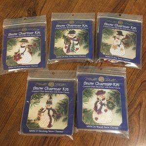 Lot of 5 Mill Hill Snow Charmer Glass Bead Kits